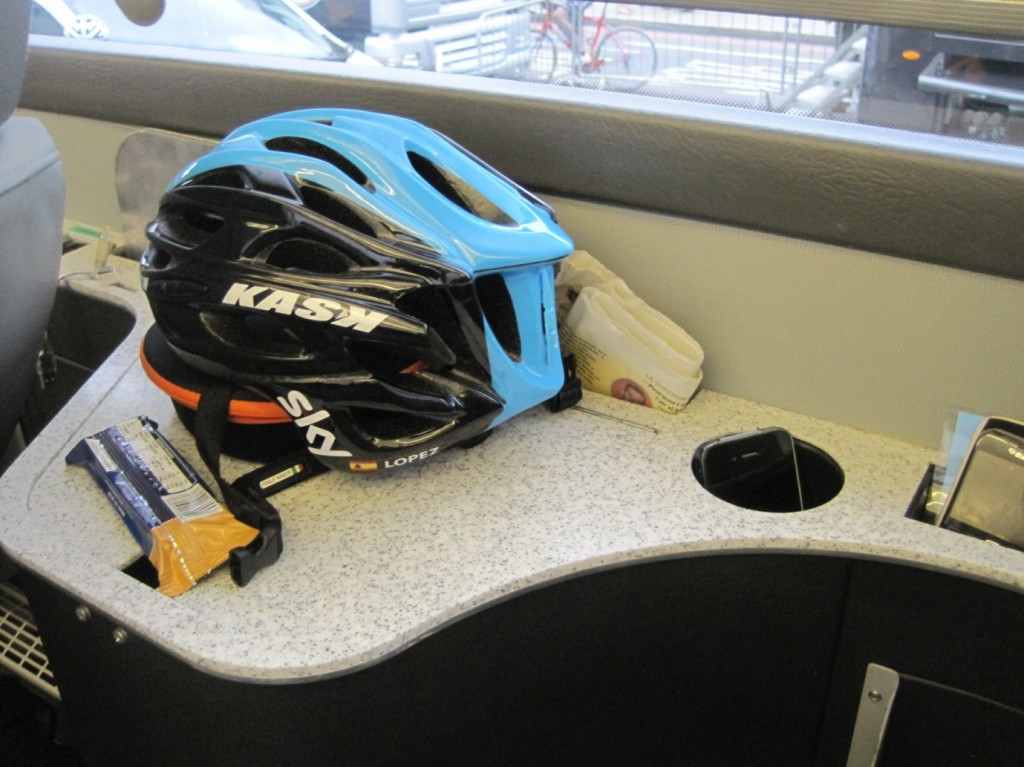 David Lopez occupied this seat during the Tour of Britain, and his newspaper, recovery bar and phones await his return -Image ©Paul Harris / Cycling Shorts.